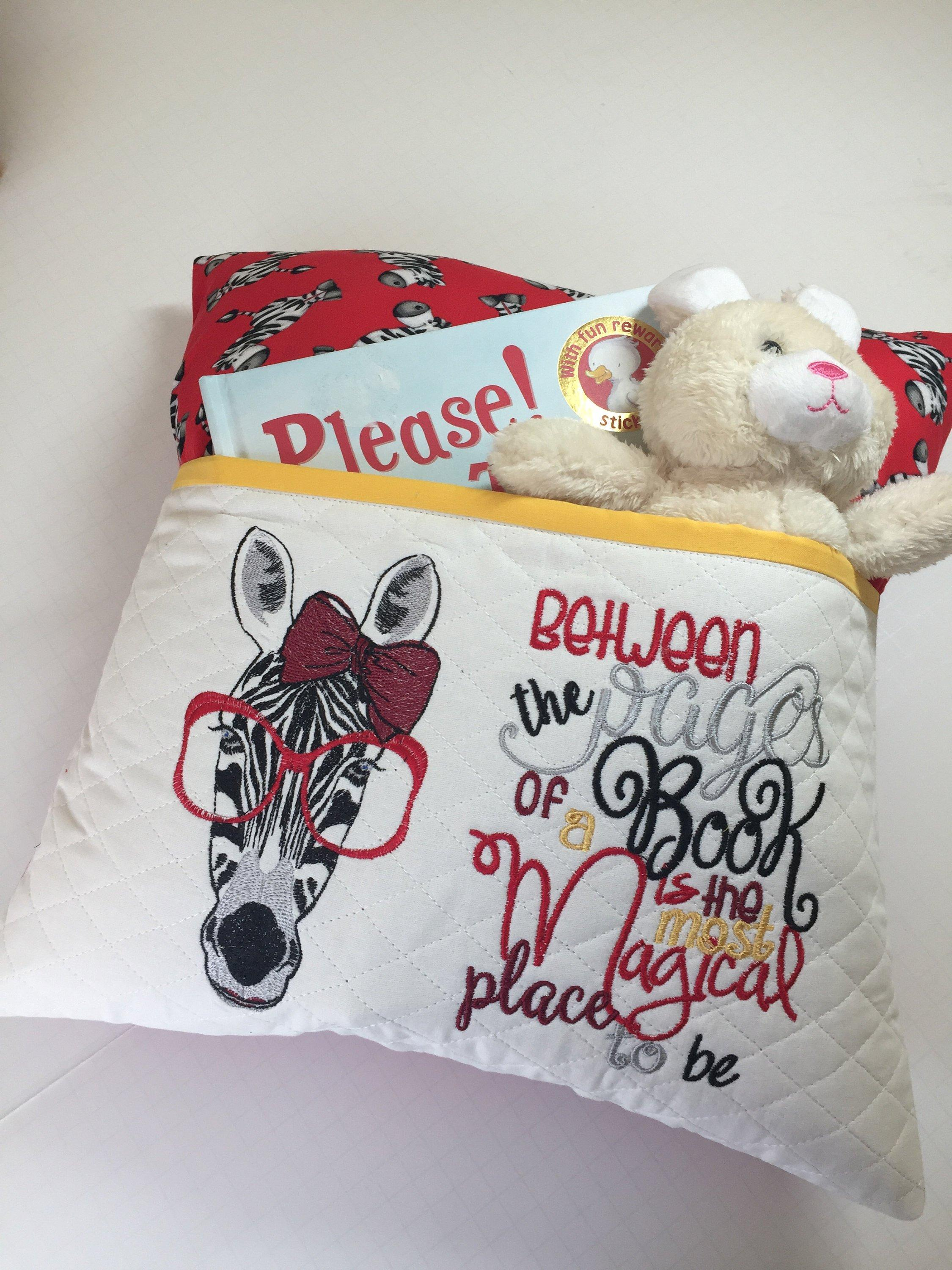 Embroidered cushion with Zebra in glasses free embroidery design