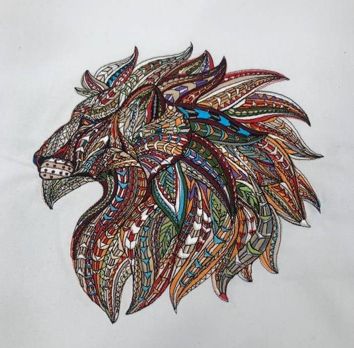 Mosaic lion embroidery design