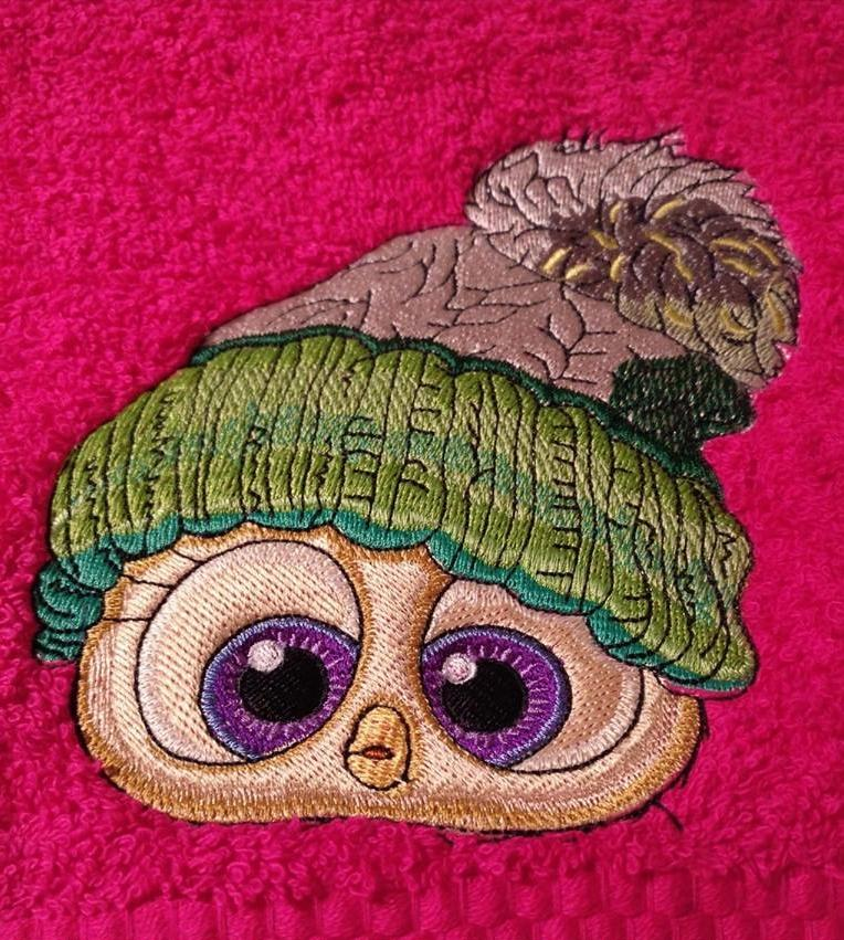 Owl in knitted cap embroidery design - Showcase with fauna