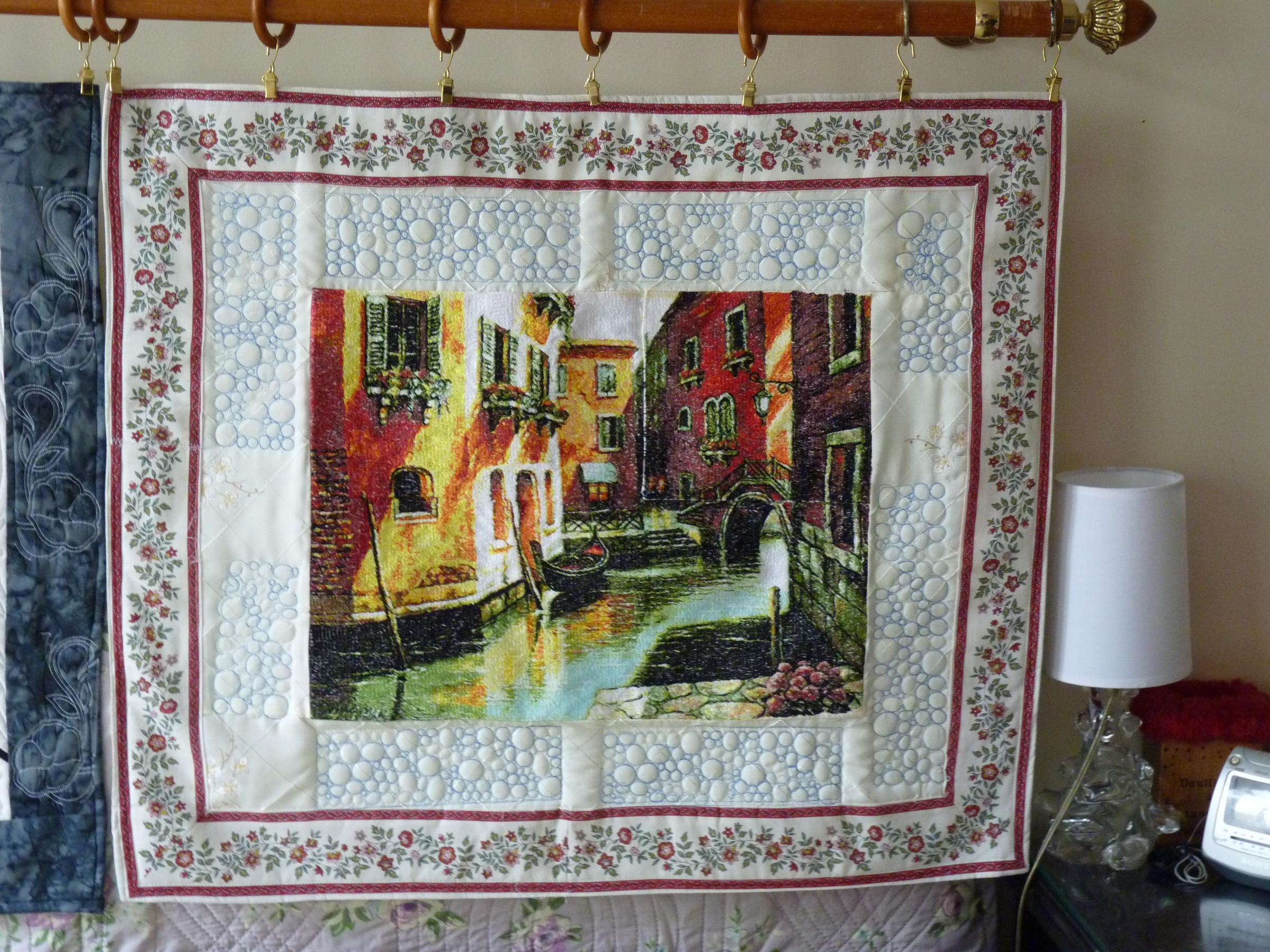 Embroidered picture of Venice canal