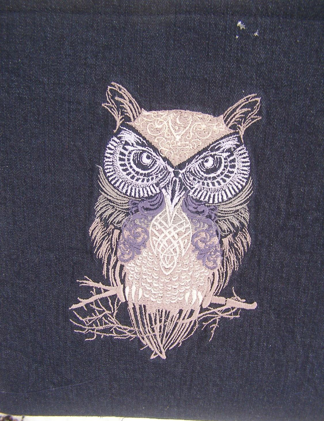 Tribal owl embroidered design
