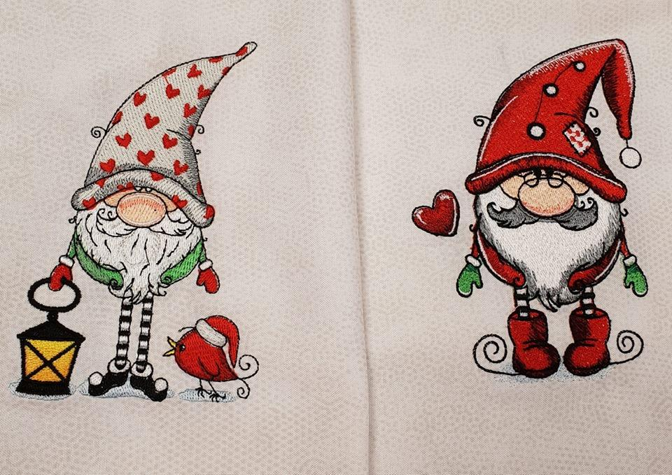 Two Christmas gnomes embroidery design