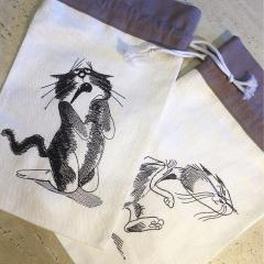 Set of embroidered bags funny cats