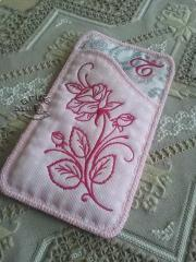 Embroidered mobile case with Rose design