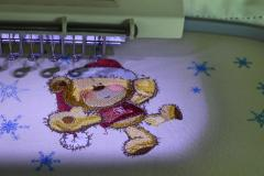 Teddy bear on Christmas ball design in progress