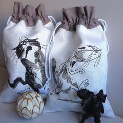 Embroidered bags funny cats