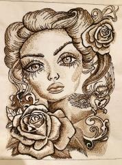 Beautiful woman embroidery design