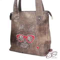 Embroidered bag with  Dog in glasses design