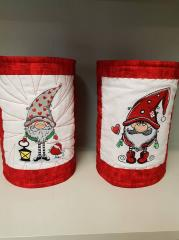 Embroidered boxes with Christmas gnomes design