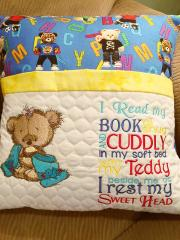 Embroidered cushion with Teddy bear after bath design
