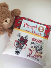 Embroidered cushion with Zebra in red glasses free design