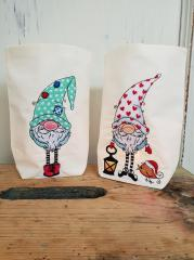 Embroidered gift bags with Gnomes design