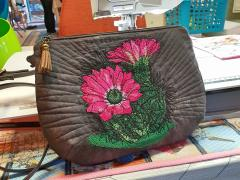 Embroidered handbag with Cactus design
