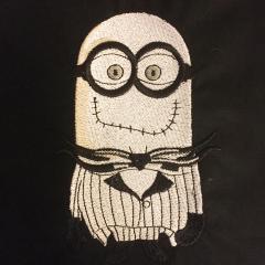 Minion skeleton embroidery design