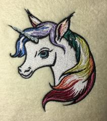 Rainbow unicorn embroidery design