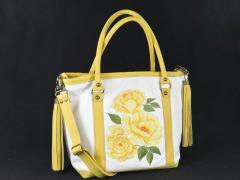 Embroidered bag with yellow flowers