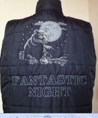 Winter jacket with panther free embroidery design