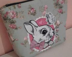 Cosmetic bag with bunny embroidery design