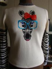 Sweater with Zebra free embroidery design