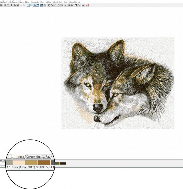 Embird wolves embroidery design size design