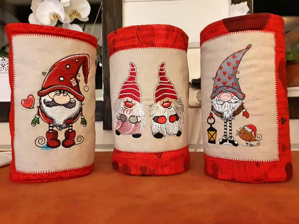 Set of embroidered tubes with Gnomes designs