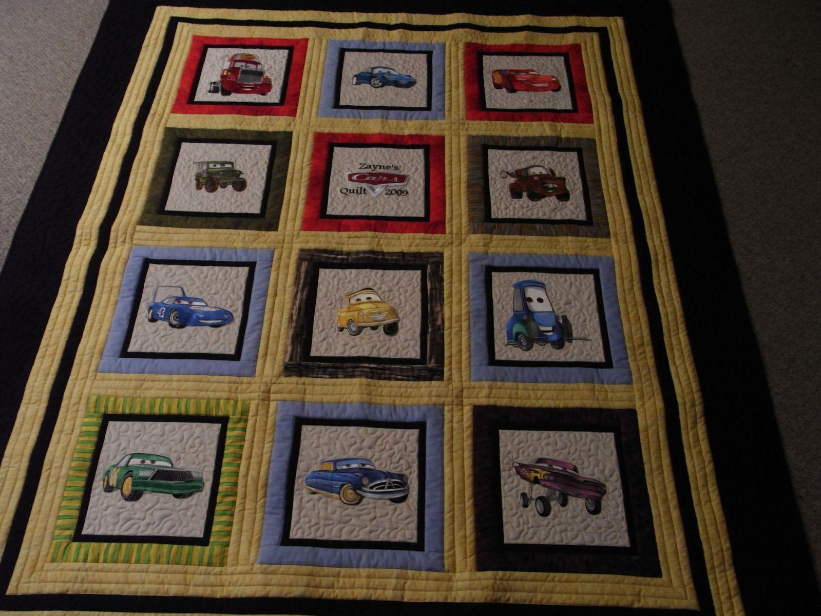 Quilt with Disney Cars embroidery