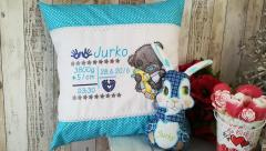 Embroidered cushion with Teddy bear and toy design