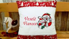 Embroidered cushion with Santa and snowman design