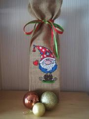 Embroidered gift bag with funny Gnome design