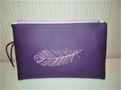 Embroidered handbag with Feather design