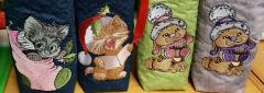 Bags with Christmas animals embroidery designs
