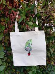 Embroidered bag with Christmas gnome design