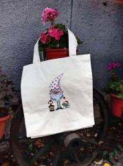 Embroidered bag with Funny gnome design