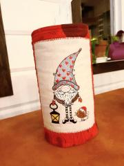 Embroidered box with Christmas gnome design