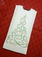 Embroidered case with Christmas tree design