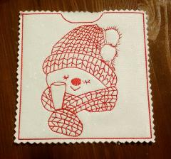 Embroidered case with Snowman in cap free design