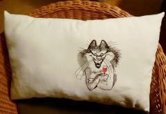 Embroidered cushion with Drinking cat free design