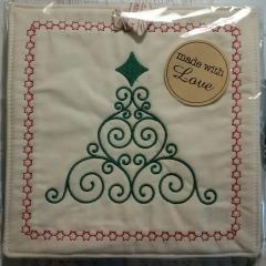 Embroidered potholder with Chsirtmas ornament free design