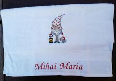 Embroidered towel with Gnome in cap design