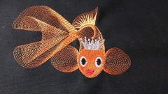 Gold fish free machine embroidery design