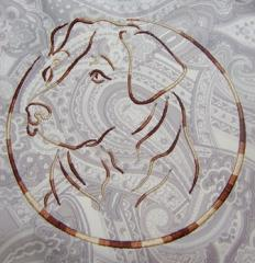 Dog in frame embroidery design