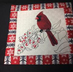 Pillow with Christmas bird cross stitch free embroidery design