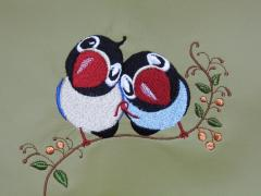 Two loving birds embroidery design