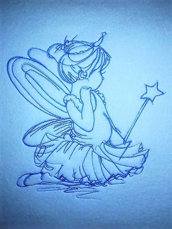 Girl in fairy costume embroidery design