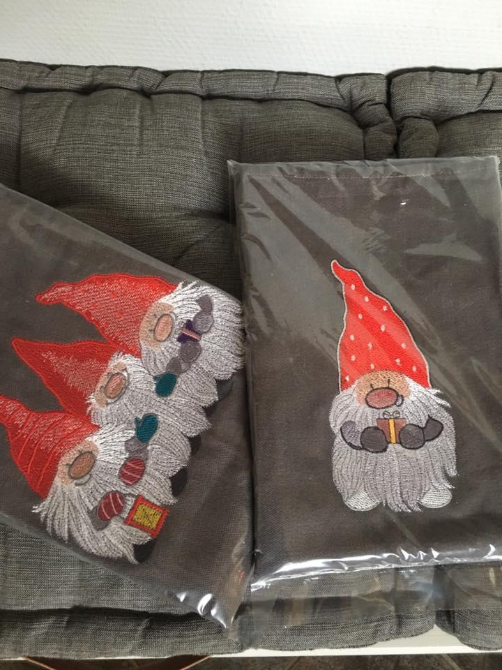 Embroidered pillowcases with Gnomes design