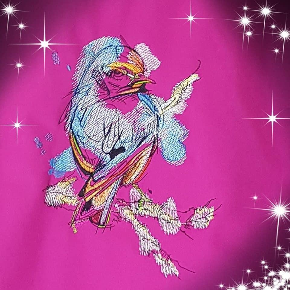 European goldfinch embroidery design