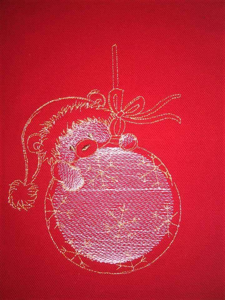 Teddy with Christmas toy embroidery design