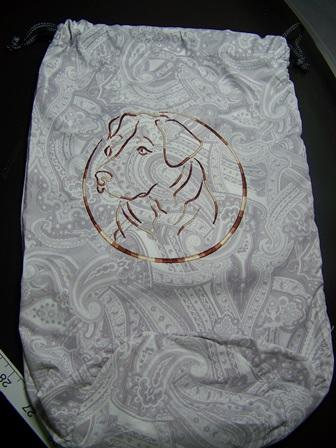 Embroidered textile bag with Dog's portrait design