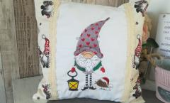 Embroidered cushion with Gnome in phrygian cap design