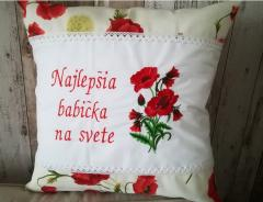 Embroidered cushion with Poppies free design